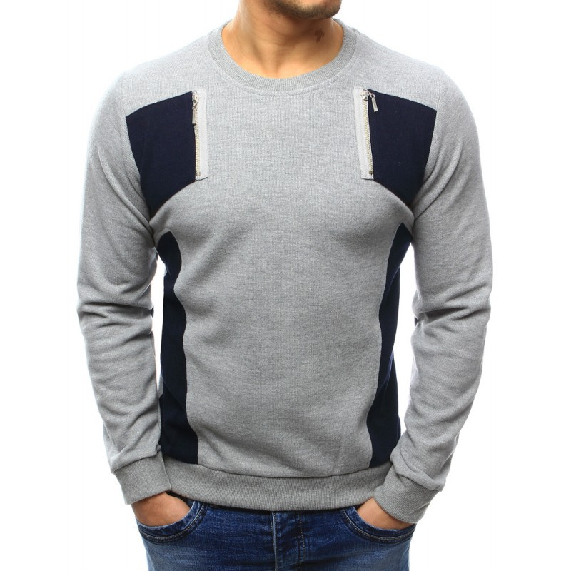 Komfortní šedý pánský svetr s černými nášivkami a zipy - manozo.cz b5d4ae0c2c