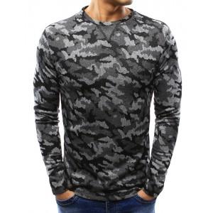 Moderní pánské svetry v šedé barvě s maskáčovým vzorem