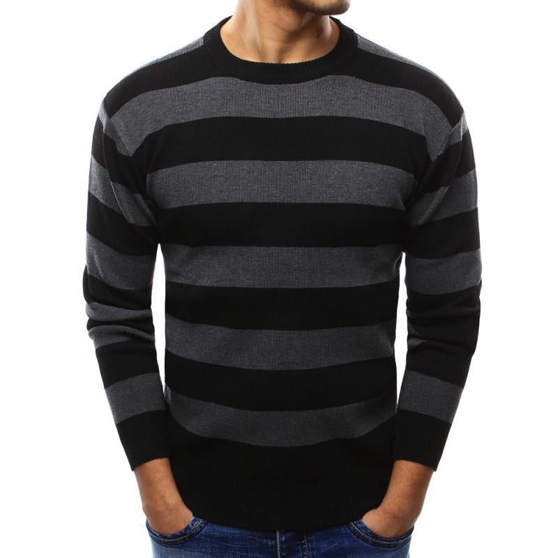 Elegantní černý pánský svetr s hrubými šedými pruhy - manozo.cz ac4ad4c065