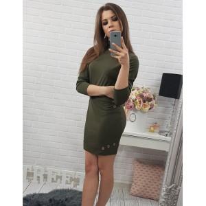 Tmavě zelené dámské šaty nad kolena se stojatým límcem