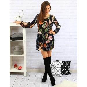 Květované letní dámské šaty černé barvy se skládanou sukní a dlouhými rukávy