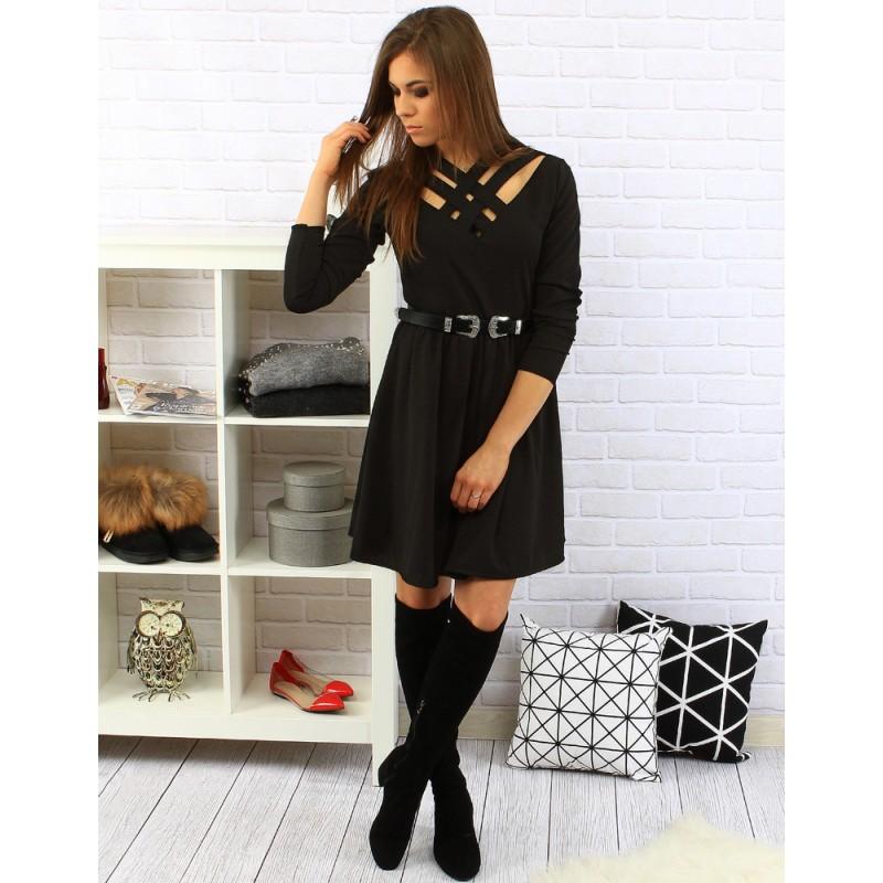 fab2afc6d958 ... šaty Elegantní černé dámské šaty po kolena s dlouhým rukávem a páskem.  Předchozí