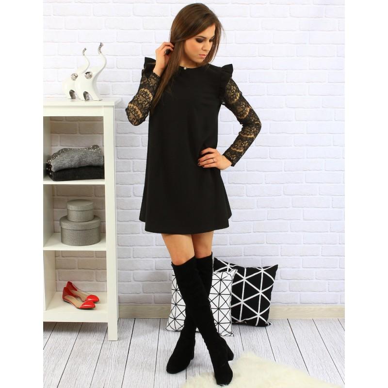 c87fb64f637d ... šaty Volné černé dámské šaty nad kolena s dlouhými vzorovanými rukávy.  Předchozí