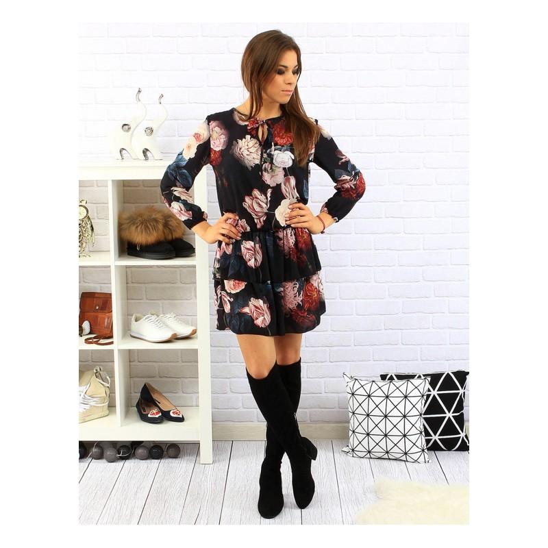 f38e901f9 ... šaty>Květované černé dámské šaty nad kolena s dlouhými rukávy. Předchozí