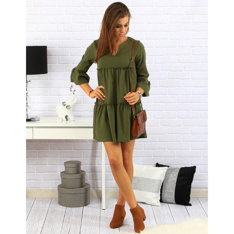 ca6ffc268acd Pohodlné dámské šaty volného střihu v zelené barvě na každý den ...