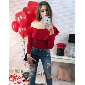 Sexy červené dámské body s dlouhými rukávy a odhaleným ramenem