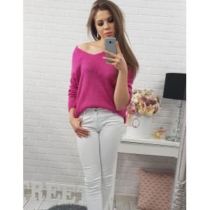 Růžové dámské pletené svetry volného střihu se šňůrkami vzadu f06d13eacb0