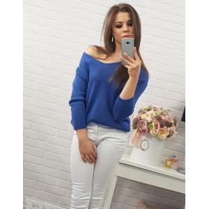 Pohodlné dámské pletené svetry modré barvy se šňůrkami na zádech