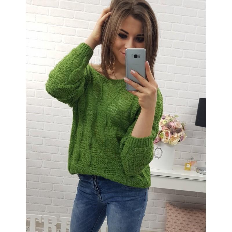 Zelené dámské pletené svetry volného střihu s dlouhými rukávy ... 1bedbfd28b