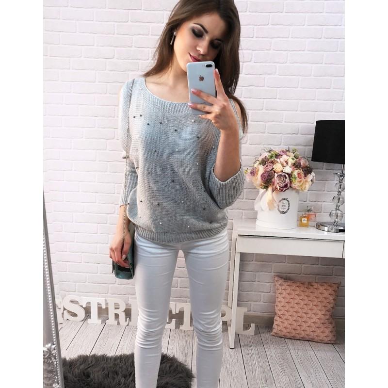 Volné dámské pletené svetry na volný čas v šedé barvě zdobené ... 13ce668a59