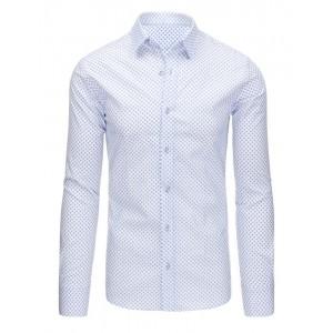 Bílá pánská společenská košile slim fit s dlouhým rukávem a modrým vzorem