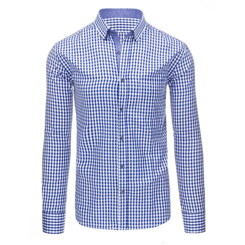 ee8e55cef966 Předchozí. Formální pánská košile s dlouhým rukávem v modré barvě s  károvaným vzorem  Formální pánská košile s dlouhým ...