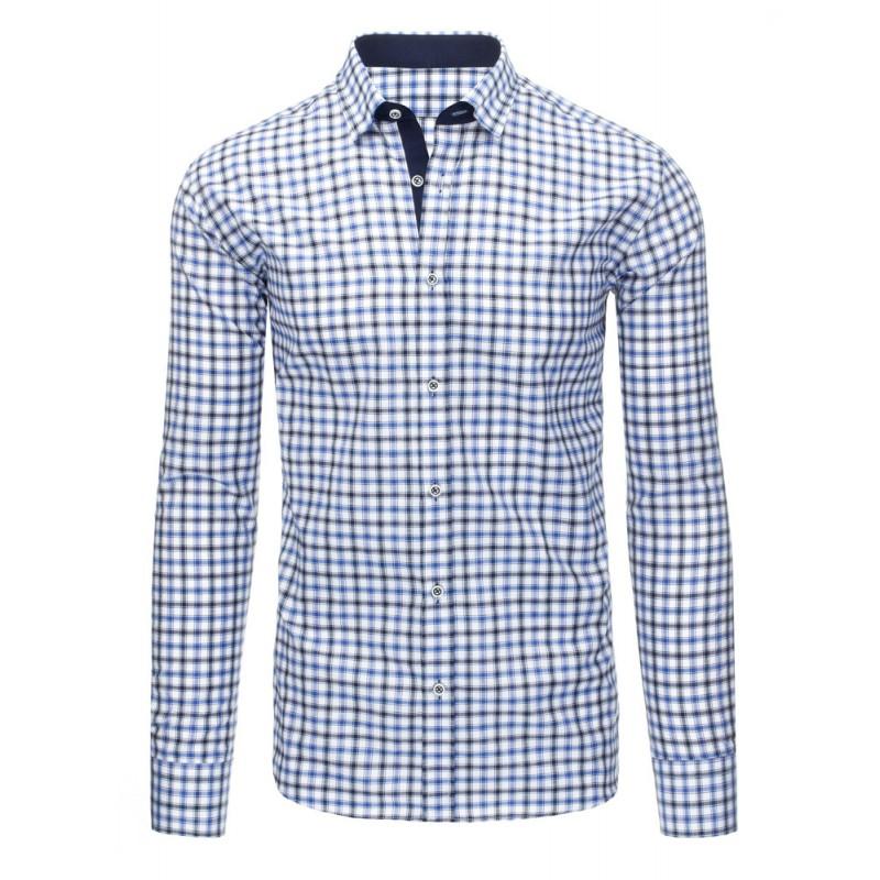 ... rukávem Moderní bílá pánská slim fit košile s modrým kostkovaným  vzorem. Předchozí 4431ecb96a