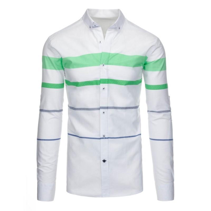 ... pánská košile bílé barvy s barevnými pruhy a dlouhým rukávem. Předchozí 84ed6e8e91