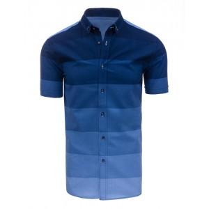 Moderní pánské košile v modré barvě s krátkým rukávem a pruhovaným vzorem