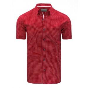 Elegantní červená pánská košile s krátkým rukávem a bílým vzorem