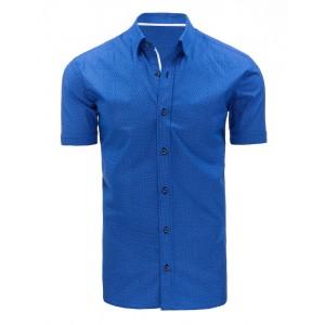 Formální modré pánské košile s bílým vzorem a krátkým rukávem