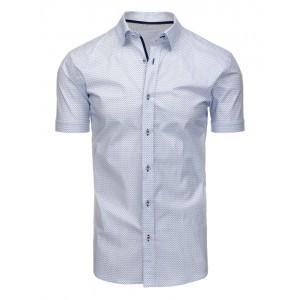 Bílé pánské formální košile s krátkým rukávem a vzorem