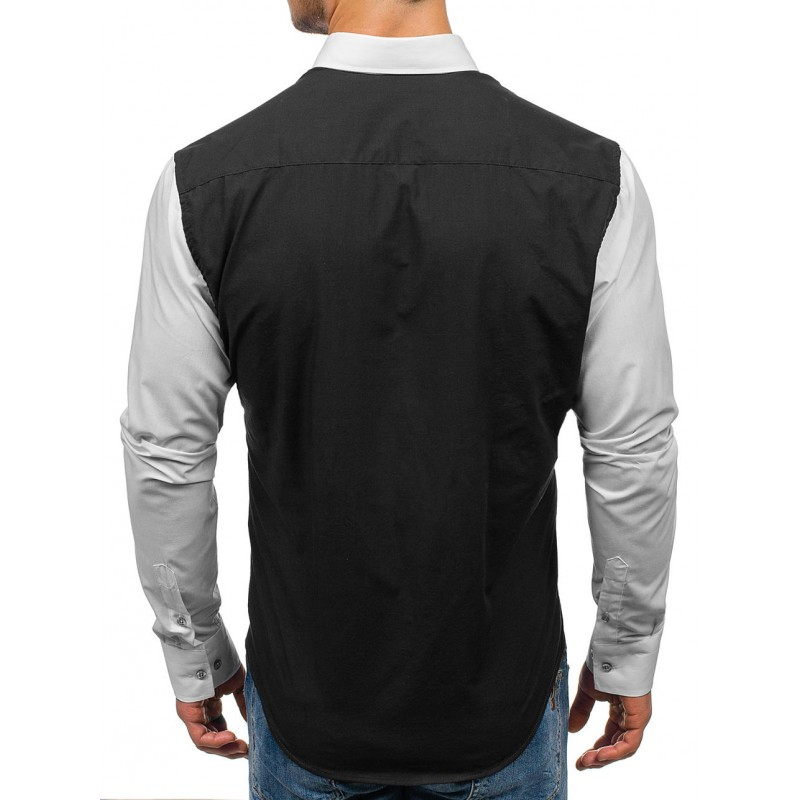 82b7a3a6a48 VELIKOST L Pánská černá košile s bílými dlouhými rukávy - manozo.cz