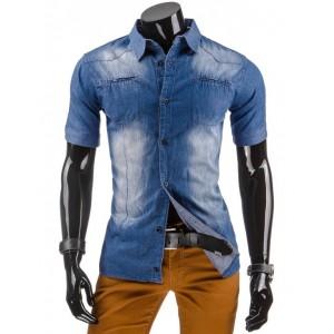 Moderní pánské riflové košile s krátkým rukávem na každý den