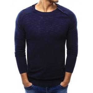 Jednoduchý tmavě modrý pánský svetr se zapínáním na rameni