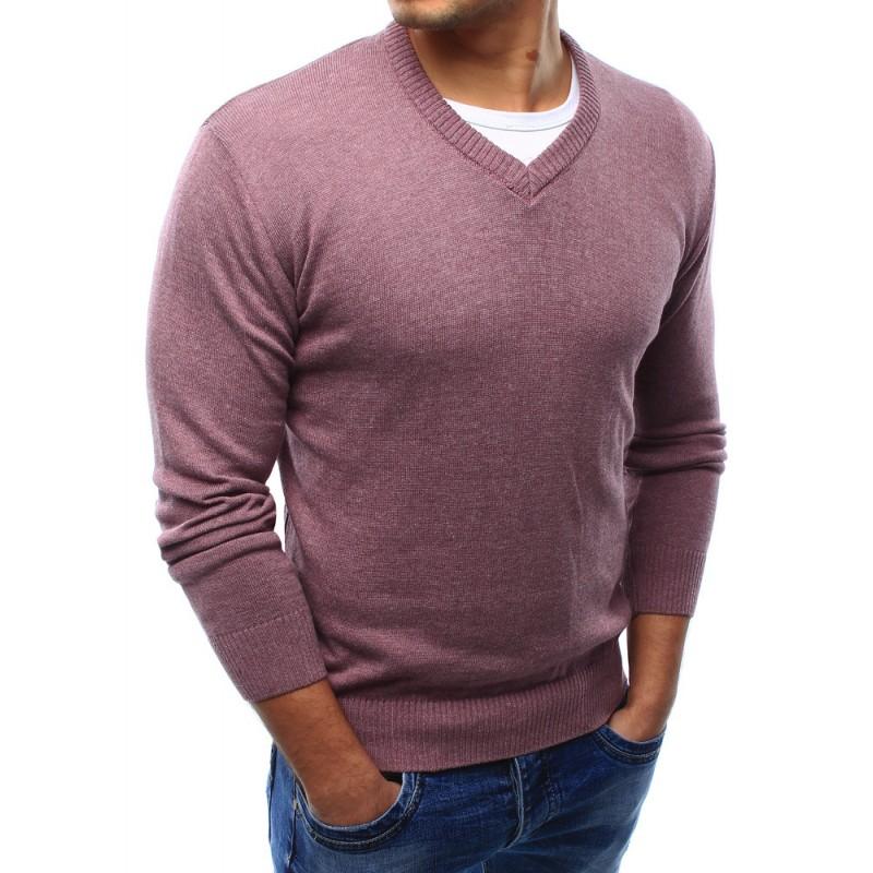 Moderní pánské svetry růžové barvy s véčkovým výstřihem  Moderní pánské  svetry růžové ... 01358b8c49