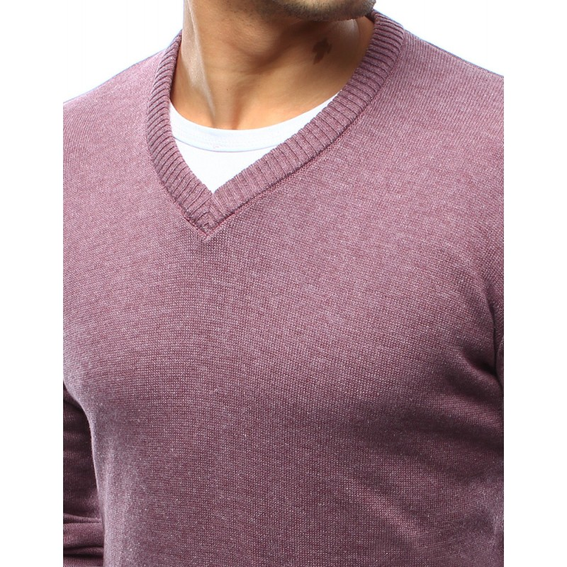 Moderní pánské svetry růžové barvy s véčkovým výstřihem - manozo.cz 0bde7b7b03