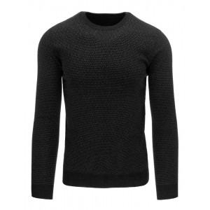 Černý pánský bavlněný svetr s jemným vzorem a kulatým výstřihem