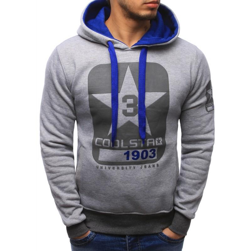 6426e3ab1f3 Sportovní pánské mikiny přes hlavu šedé barvy s kapucí a potiskem ...