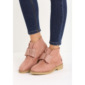 Zateplené dámské růžové boty s hrubší podrážkou