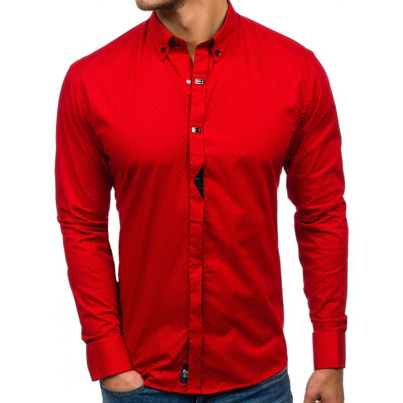 56409b805064 Luxusní pánské košile s tečkami v červené barvě