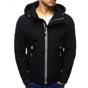 Jarní pánské bundy černé barvy se zipsem a kapucí
