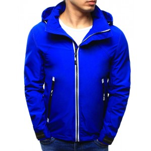 Pánská jarní bunda sýto modré barvy s kapucí a kapsami