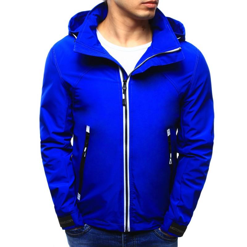 f95f667909e9 Pánská jarní bunda sýto modré barvy s kapucí a kapsami