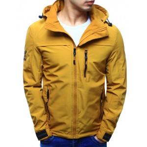 Pánská jarní bunda žluté barvy s kapucí