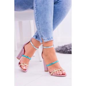 Dámské sandály na podpatku v ružové barvě