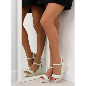 Společenské sandály zelené barvy na platformě