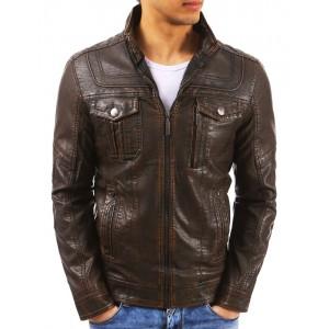 Kožená bunda pánská v tmavě hnědé barvě se zipem