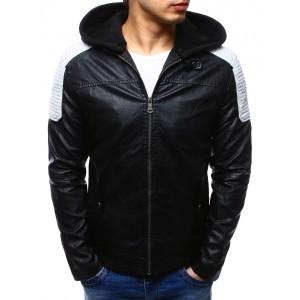 Kožená bunda s kapucí v černé barvě s bílými rameny