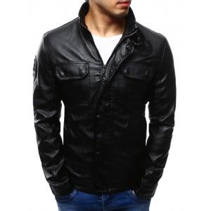 Pánské koženkové bundy v černé barvě se zapínáním na zip