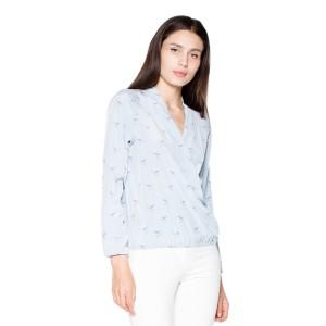 Košile dámské v světle modré barvě s véčkovým výstřihem