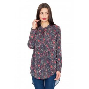 Dlouhé damské košile s květinovým motivem a mašlí