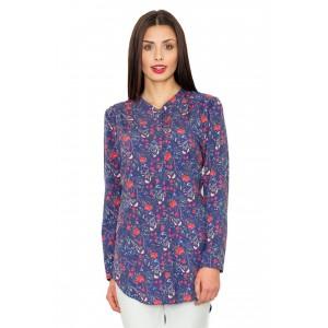Dámská dlouhá košile modré barvy s květmi a dlouhými rukávy
