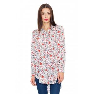Dámské košile bílé barvy s květinovým vzorem dlouhého střihu