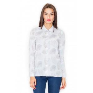 Luxusní dámské bílé košile se vzorem a dlouhým rukávem