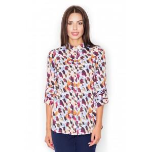 Dámská společenská košile s tříčtverečným rukávem a vzorem