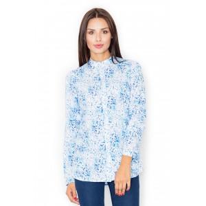 Dámská košile se stojáčkem a modrým vzorem do společnosti