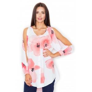 Košile dámská s květovaným vzorem a dlouhým rukávem