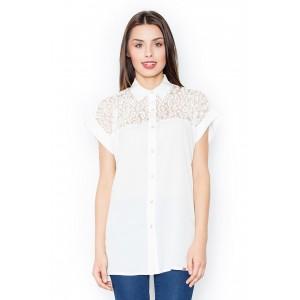 Dámská košile s krátkým rukávem a čipkou v bíle barvě