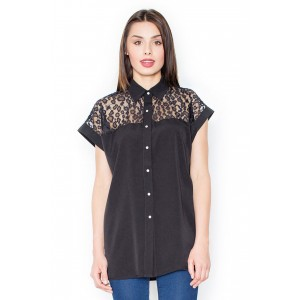 Černá košile dámská s krátkým rukávem do společnosti
